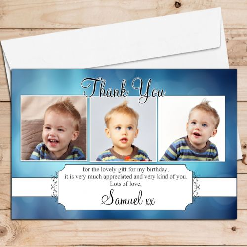 10 Personalised Thank you PHOTO Cards N96 Boys Birthday, Christening Any Occasion